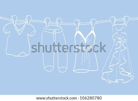 Fashion boutique set, stylized doodles