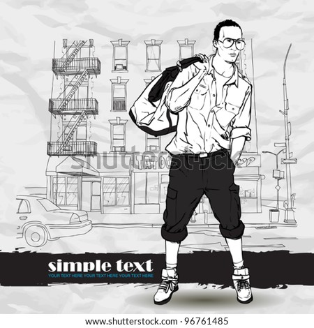 Fashion boy with bag and glasses on a street-background. Vector illustration.