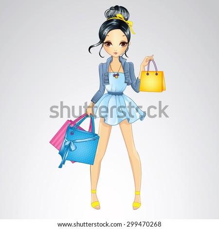 fashion brunette shopping girl