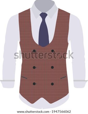 Fashion burgundy Business Plaid Waistcoat Suit Vest for Men  Stock photo ©