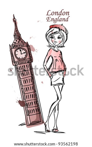 Fashion Cartoon Girl travels the world, vector background