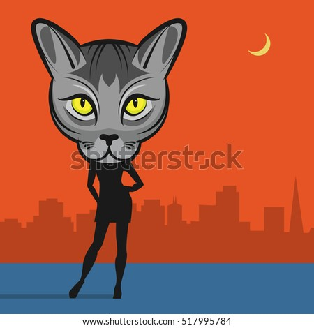 fashion cat woman abstract