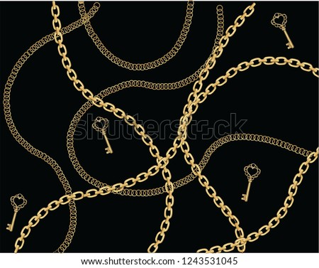 fashion chain and belt gold seamless fashion gold chain design Baroque print with chains, keys. Seamless vector pattern with trendy accessories. Women's fashion collection. On black background.