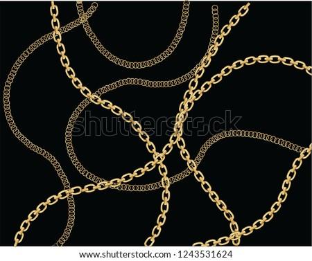 fashion chain design golden chain print