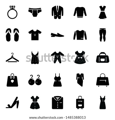 Fashion clothing glyph icons presenting imagery and trendy apparels visuals vectors.