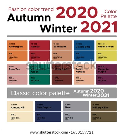 Fashion color trend Autumn Winter 2020-2021. Palette fashion colors guide with named color swatches, RGB, HEX colors.