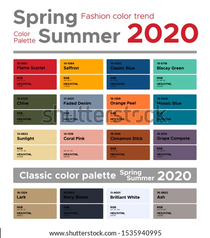 Fashion color trend Spring Summer 2020. Palette fashion colors guide with named color swatches, RGB, HEX colors.