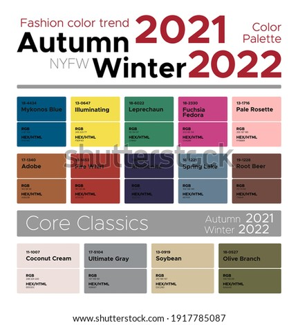 Fashion color trends Autumn Winter 2021-2022. Palette fashion colors guide with named color swatches, RGB, HEX colors