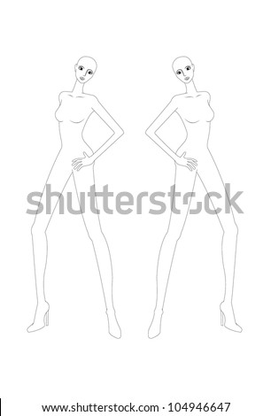fashion croquis, fashion figure, fashion model template