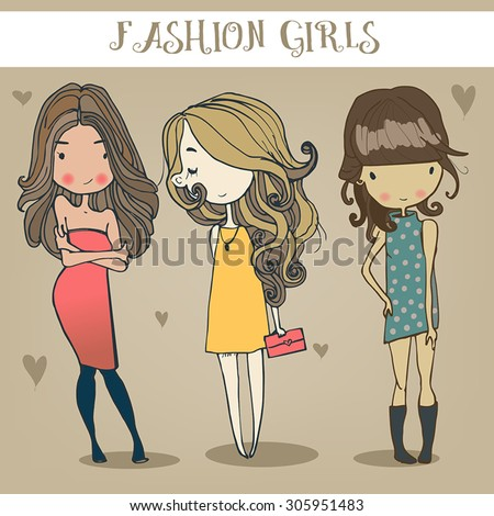 Royalty-free Vector cute fashion hipster girl in ...