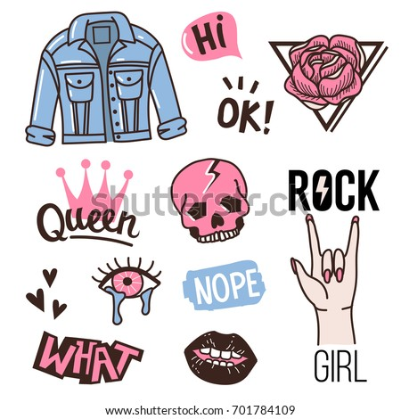 Fashion cute patches or stickers set.  Vintage doodles stamps.  Vector trendy illustration.