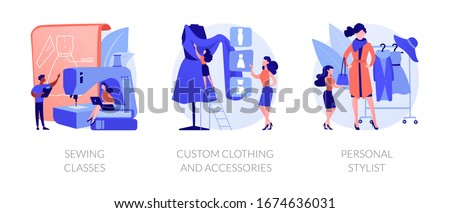 Fashion design flat icons set. Dressmaker course, tailor atelier. Sewing classes, custom clothing and accessories, personal stylist metaphors. Vector isolated concept metaphor illustrations. Stock photo ©