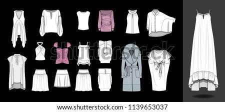 Fashion design illustration dress shirts tops template blouse skirts feminine glamorous casual clothing garments