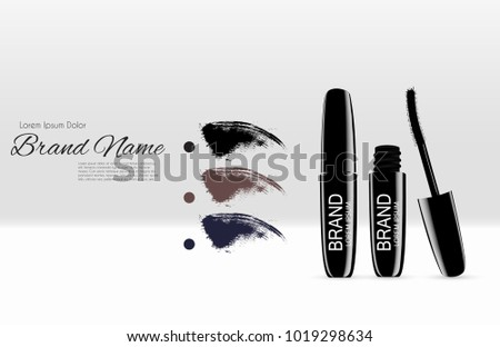Fashion Design Makeup Cosmetics Product  Template for Ads or Magazine Background.  Mascara Product Series Reportv 3D Realistic Vector Iillustration. EPS10