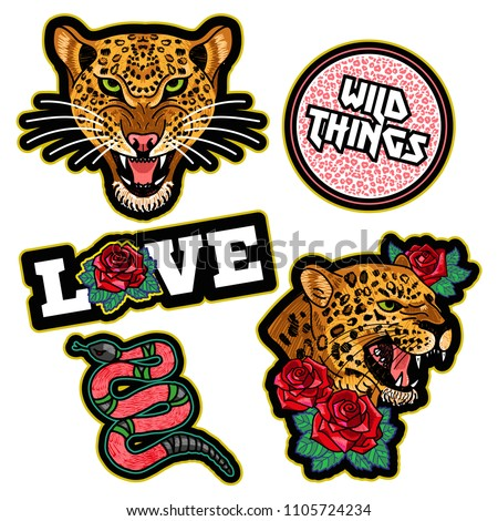 Fashion design print of patch or sticker for clothes t shirt bomber sweatshirt with wild angry heads of leopard, pink snake, trend phrase, flowers roses Modern Trendy icon for streetwear brand.