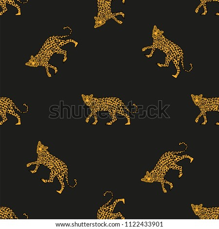Fashion design print of seamless pattern on textile clothes t shirt sweatshirt poster with the Wild animal leopard in full height on black background. Modern Trendy illustration for streetwear brand.