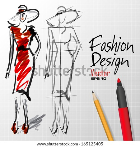 fashion design sketches silhouette in vector format