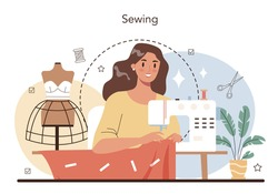 Fashion designer concept. Professional tailor sewing or fitting clothes. Dressmaker working on power sewing machine and taking measurements. Vector flat illustration
