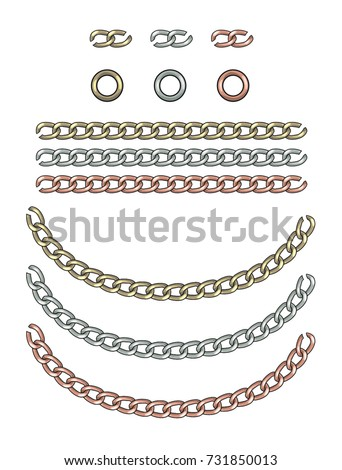 Fashion Elements: Gold, Silver, & Rose Gold Interlocking Chain Vector Illustration