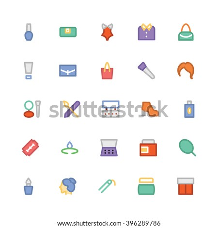 fashion flat bold vector icons 5