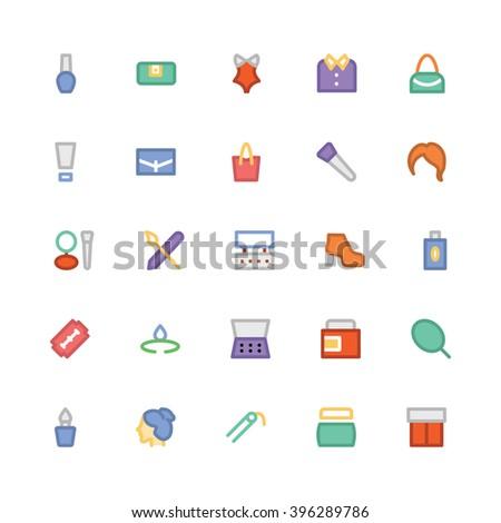 fashion flat bold vector icons 5