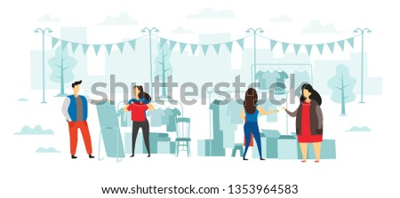 Fashion flea market. People buy and sell clothes, open air street swap-party and fair of clothe. Fashionable second hand shopping, flea garage selling marketing flat vector illustration