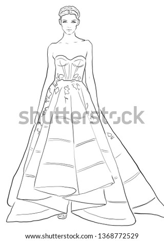fashion girl cartoon. Abstract Black and white line drawing of beautiful runway model. Ready to wear fashion girl
