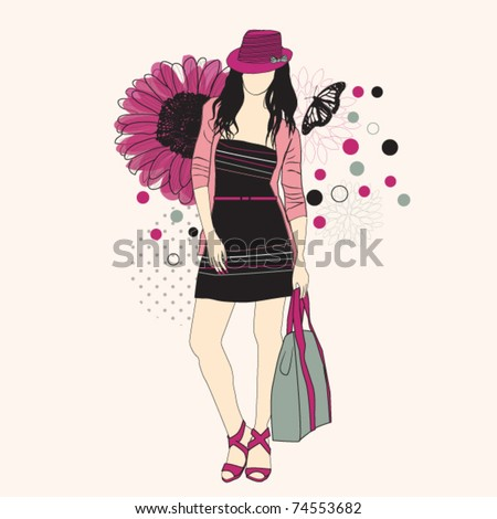 Fashion girl in hat on a floral background
