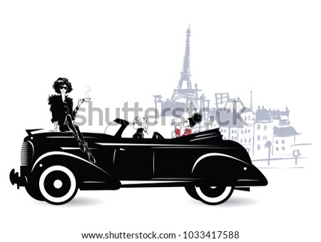 Fashion girl in sketch style sitting on an old car. Vector illustration