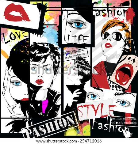 fashion girl in sketch style....