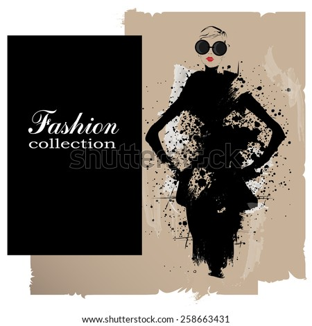 Fashion girl in sketch-style. Vector illustration. - Shutterstock ID 258663431