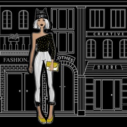 Fashion girl on the streets of Paris, walking to the shops. Young woman from New York City goes shopping. Beautiful model. Cartoon illustration. Sketch lady. Black and white.