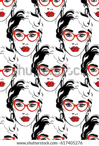 fashion girl seamless pattern
