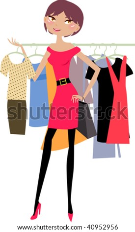 fashion girl  shopping in clothes store