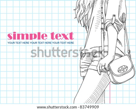 Fashion girl with bag in sketch-style. Vector illustration.