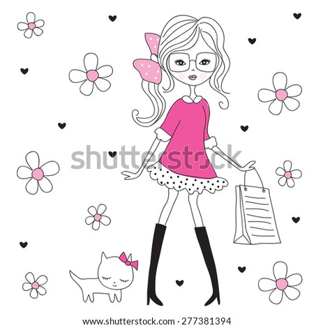 fashion girl with cat vector