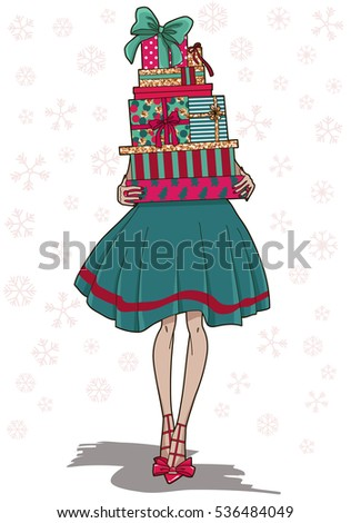 fashion girl with colorful gift