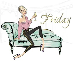 Fashion girl with glass of champagne sitting on sofa in living room. Friday home party, luxury fashion woman, glitter details vector illustration clipart art