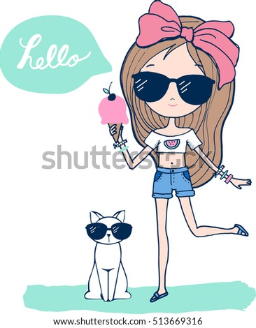 fashion girl with ice cream
