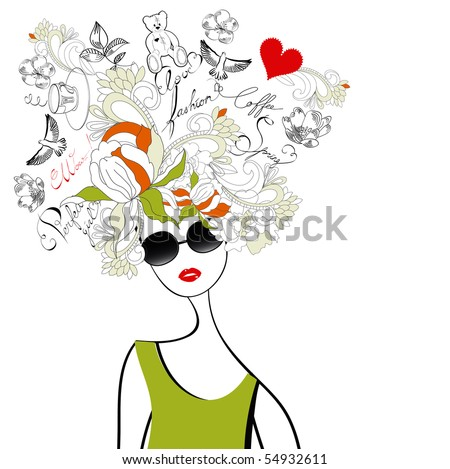 Fashion girl with original hair