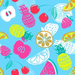 Fashion Girlish funny wallpapers. Seamless pattern with yellow pineapples, juicy strawberries and oranges on blue background. Bright summer fruits illustration. Fruit mix design for fabric and decor.