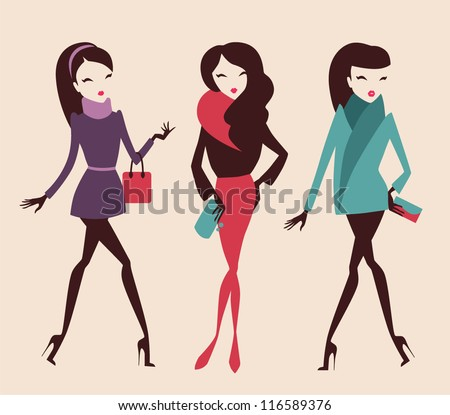fashion girls collection vector eps 10