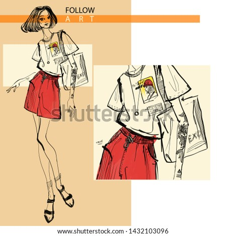 Fashion girls. Fashion, style, clothing and accessories. - Vector.