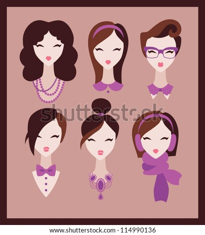 fashion girls icon set vector