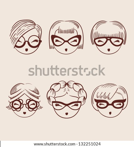 fashion girls in glasses icon set hand drawn vector illustration eps 10