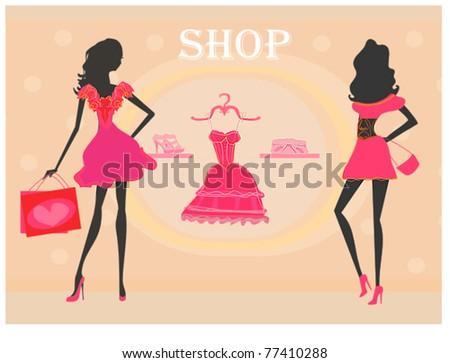 fashion girls Shopping silhouettes