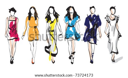 Fashion girls. Sketch. Vector illustration