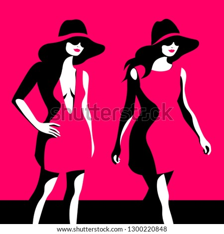 Fashion girls. Two female models wearing big hats. Vector illustration