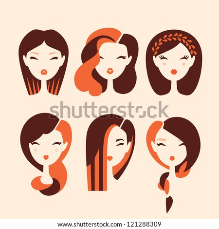fashion girls with hairstyles and haircuts vector eps 10