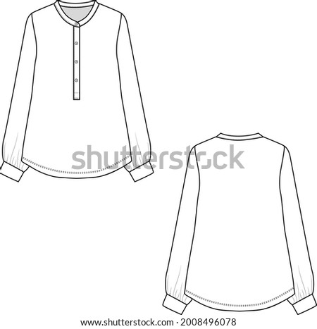 Fashion henley neck placket  buttons long sleeve gathering with cuffs flat sketch drawing vector design Сток-фото ©